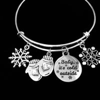 Baby It's Cold Outside Snowflake Mittens Adjustable Bracelet Expandable Charm Bracelet Christmas Bangle Gift 2017 Trendy Christmas Jewelry
