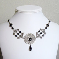 Pewter necklace with onyx stones and black glass beads by Arthlin