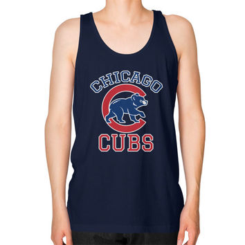 Cubs Baseball Team Chicago Allsex, Chicago cubs world series Unisex Fine Jersey Tank (on man)