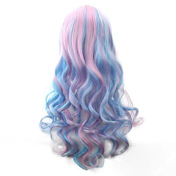Soowee 70cm Long Women Hair Ombre Color High Temperature Fiber Wigs Pink Blue Synthetic Hair Cosplay Wig Peruca Pelucas