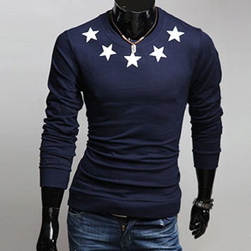 Five-Pointed Star Print Long Sleeves T-Shirt
