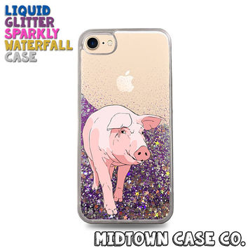 Pig Sow Snout Ear Hooves Vector Art Farm Animal Liquid Glitter Waterfall Quicksand Sparkles Glitter Bomb Bling Case for iPhone 7 7 Plus 6s 6