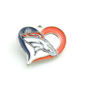 DIY Fans Jewelry Color Enamel Heart Football Team Logo Denver Broncos Pendant Necklace Sports Dangle pendant