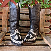 Boho Cowgirl boots  8 / 8.5 / black embroidered tooled leather  / Botas Ballo y Botines / crafted in Mexico / gypsy boots