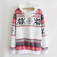 Women's clothing snowflake long-sleeved hooded sweater