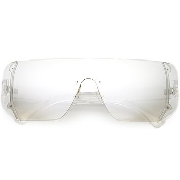 Retro Futuristic Oversize Color Lens Shield Sunglasses C634