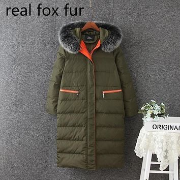 5XL Women Winter Coat Jacket Long Parkas Natural Fox Fur Hooded Outwear Female Snow Overcoat Warm Thicken 2017 Big Size New