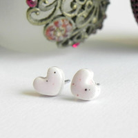 Heart Post Earrings Pastel Pink Small Ceramic Stud Earrings Sparkling Pottery Jewelry Hypoallergenic Post