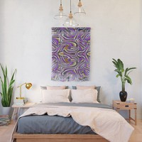 Retro Renewal - Purple Waves Wall Hanging by gx9designs