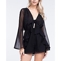 long sleeve ruffle romper with open back - black