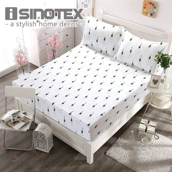 1pcs Polyester Fitted Sheet Mattress Cover Printed Bedding Sheet With Four Corners Elastic Band Soft Washable Bed Sheet 3 Sizes