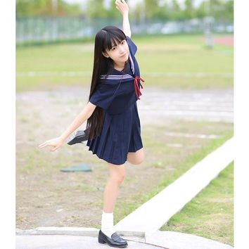 Japanese School Uniforms for Girls Cute Long-length Sailor Tops Pleated Skirt Full Sets Cos JK Costume Series D-0180