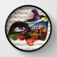 am watching you Wall Clock by C Kiki Colle