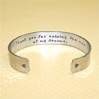 Mother's Day / Mother in Law / Mother of the Groom Gift - Thank you... Custom Hand Stamped Cuff Bracelet by Korena Loves