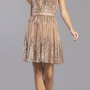 Glittery Homecoming Short Dress Open-Back Rose Gold