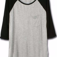 Gray Half Sleeve with Chest Pocket Long Back Top