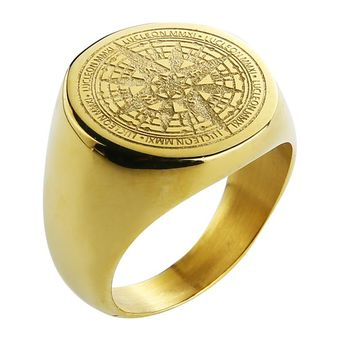 Valily Jewelry Mens Ring Simple Design Compass Ring Gold Stainless Steel