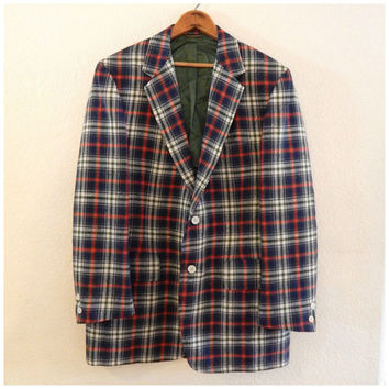 Mens Vintage Tartan Blazer Red Scottish Majer Excellent Two Button 70s L