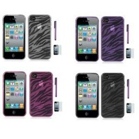Apple Iphone 4, 4S Phone Protector Zebra Skin Cover Case With Purple Touch Screen Stylus Pen, Screen Protector, Phone Stand
