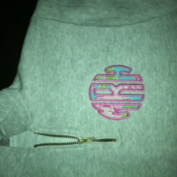 1/4 zip Sweatshirt personalized with appliqué monogram in Lilly Pulitzer fabriic