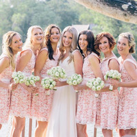 Cute Pink White Lace Wedding Bridesmaid Dresses Short Lace Party Dresses Bridesmaid Gowns Formal Dress