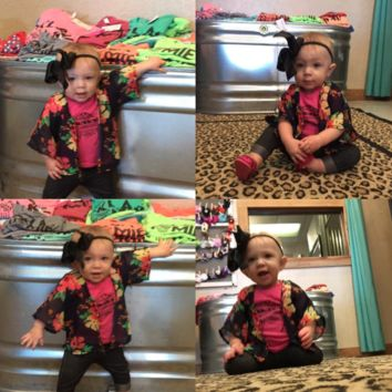 Baby & Toddler Floral Bright colored Floral Kimono