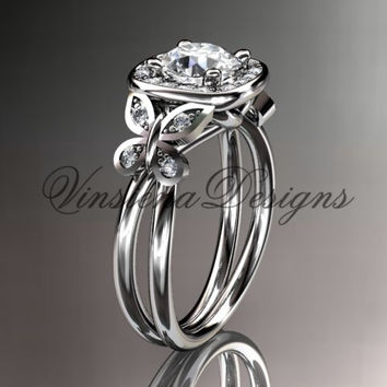 14kt white gold diamond unique butterfly engagement ring wedding ring adlr330 - Butterfly Wedding Ring