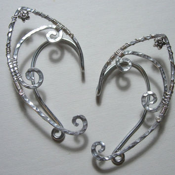 Pair of Elegant and Simple Elf Ear Cuffs with Flower Accents, Renaissance, Elven, Hobbit, Elf, Fantasy Ear Wraps