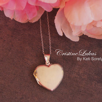 Sterling Silver Heart Locket Necklace - Yellow or Rose Gold Overlay - Personalize it With Your Photos - Engravable Locket