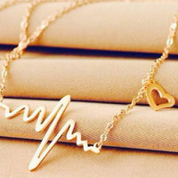Heartbeat Necklace - Heart Beat Necklace - EKG Necklace - Nurse / Doctor Necklace - Gold & Silver