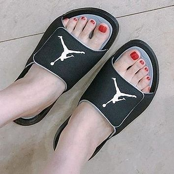 Jordan Stylish Leisure Logo Print Sandal Slipper Shoes Black White I
