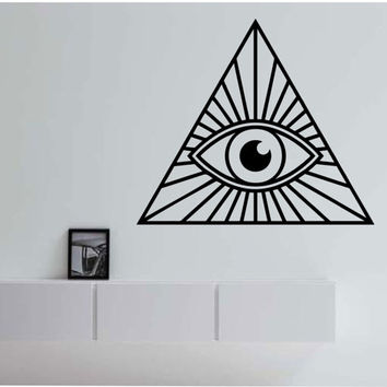 Illuminati Pyramid Eye Geometry Vinyl Wall Decal Sticker Art Decor Bedroom Design Mural interior design  geometric