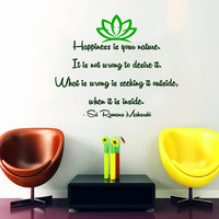 Zen Wall Decal Quote Happiness Is Your Nature Yoga Vinyl Stickers Home Wall Art Bedroom Interior Design Living Room Decor Yoga Decals KI99