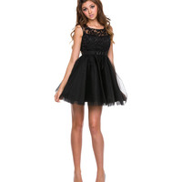 Black Lace & Chiffon Short Dress 2015 Homecoming Dresses
