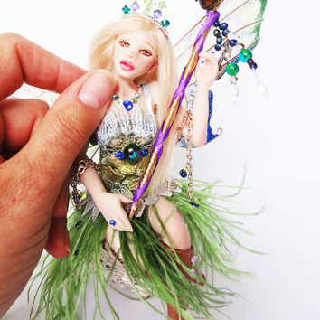 OOAK Fairy Art Doll Hand Sculpted Faerie Polymer Art Doll Fairy Sculpture Miniature Faery Figurine Fantasy Doll