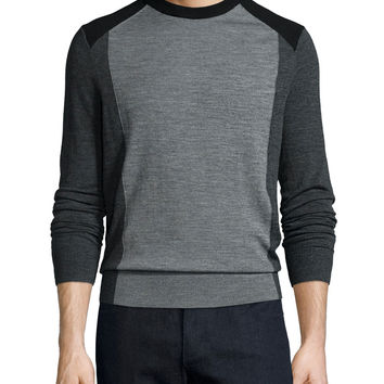 Colorblock Crewneck Wool Sweater, Gray, Size: