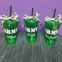 ARMY Mom 16oz Green Customizable Tumbler Cups