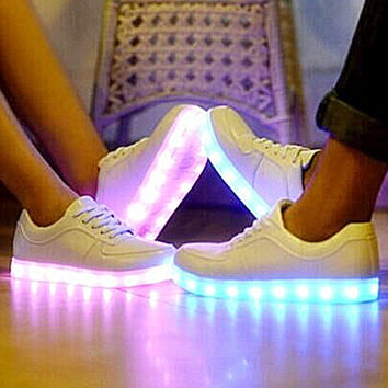 Trending Fashion Casual Sports Shoes LED White