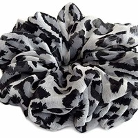 Grey Leopard Scrunchies for Hair Large Chiffon Fancy Accessories Elastic Hair Ties Teen Girls Women
