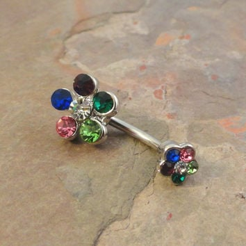 Multi Color Crystal Daisy Flower Belly Button Jewelry Ring