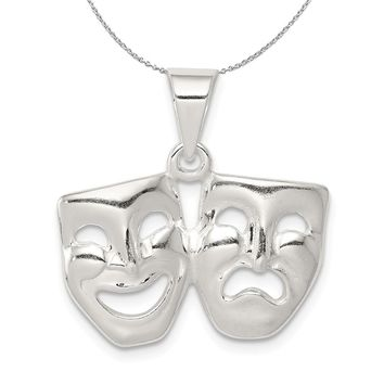 Sterling Silver Polished Comedy and Tragedy Mask Necklace