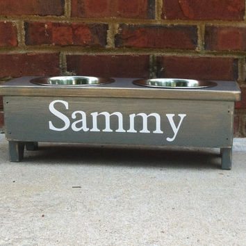 Raised Dog Bowl Stand Personalized