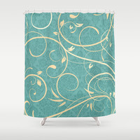 Teal Damask Pattern with Cream Swirls Shower Curtain by Doodle's Designs