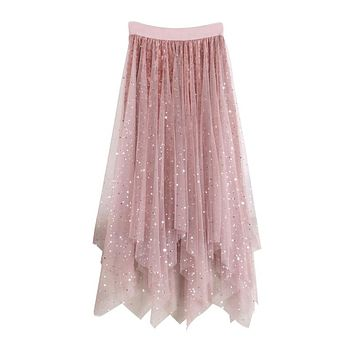 Long Tulle Skirt Women 2018 Autumn Winter Korean Elegant High Waist Pleated Midi Skirt Female Irregular Velvet Skirts