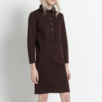 Vintage 60s Brown Long Sleeve Merino Wool Knit Polo Shift Dress | S