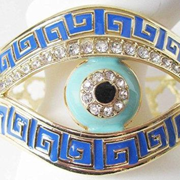 Gold Tone Polished Metal Evil Lucky Eye Cuff Bracelet with Rhinestones with an Intricate Adorned Cuff with Painted Metal Enamel Available in Four Colors