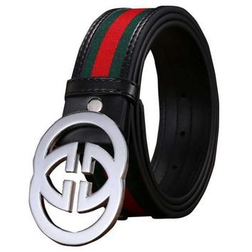 GUCCI 2 G Woman Fashion Smooth Buckle Belt Leather Belt-5