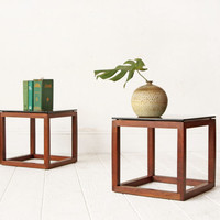PAIR Walnut Cube Side Tables Smoked Glass