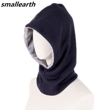 Autumn Winter Women Men Plus Velvet Knitted Hooded Hat Scarf Set Fashion Female Crochet Beanies Hat Boys Thick Warm Cap Scarves