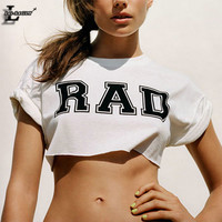 "Lei-SAGLY Hot! Sexy! ""Rad"" Printed Kawaii Dew Navel O-Neck Crop Tops Summer Women  T shirts Harajuku Casual T-shirt F1012"